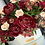 Thumbnail: Large Mixed Burgundy Flowers and Blush Pink Roses in Ceramic Vase