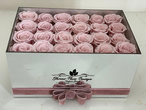 Blush Preserved Roses in Mirror box