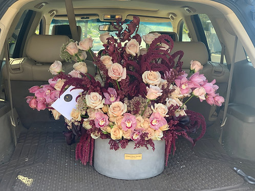 Cement Vase in Large Size With Full of Orchids and Roses