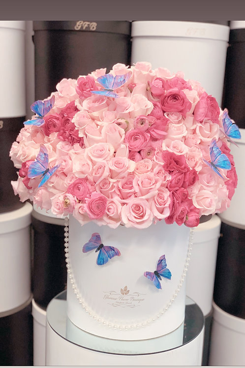Large size light and dark pink flowers mixed with butterflies decoration