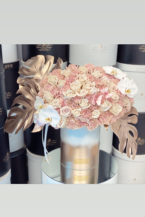 Medium to Large Size Arrangement in Gold and White Box