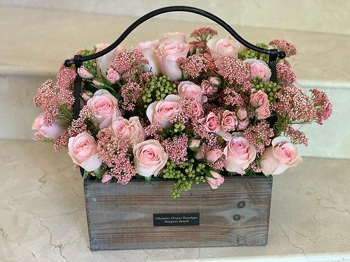 Rose Garden Flower Wood Box