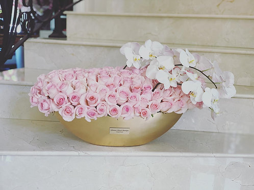 Pink Roses with white Orchids in Gold or Silver Vases