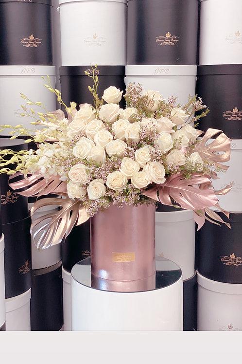 Large Flower Arrangement in Rose Gold Box