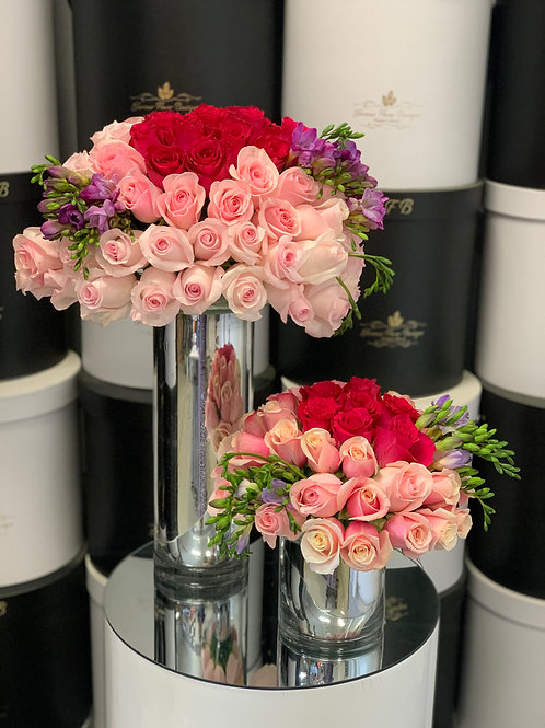 Medium and Small Size Arrangement with all around Roses