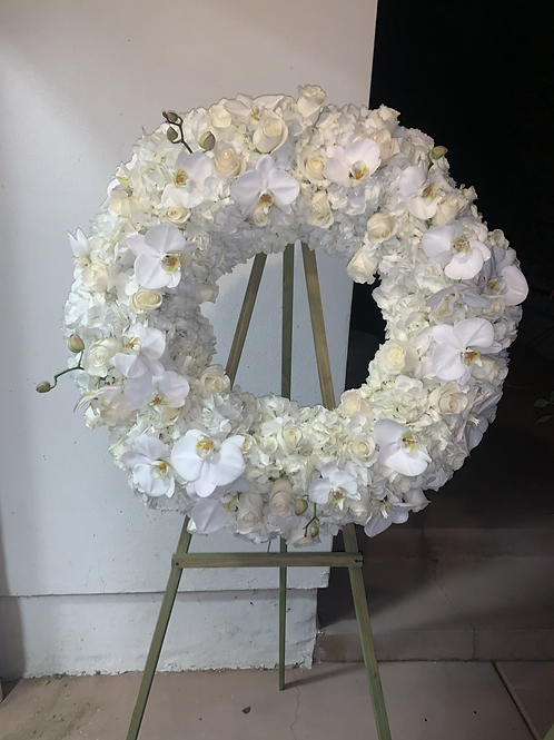 Memorial Stand Flowers all White