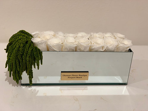 Preserved Roses and Greenery Arrangement in Mirror box