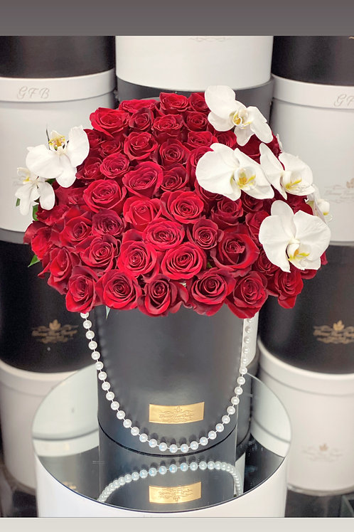 Large Red Roses Bouquet with both Sides Orchids