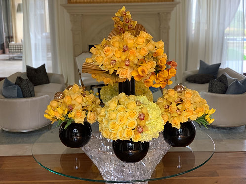 Set of Yellow Arrangements with Black Vases