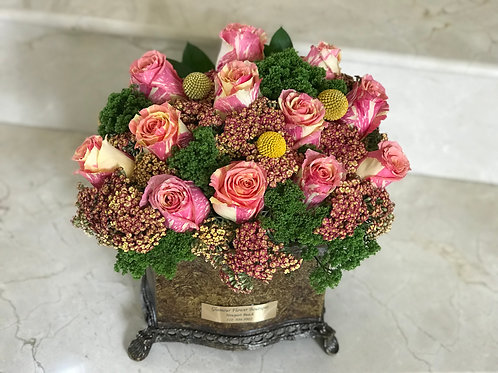 Rose Arrangement in Traditional Vase