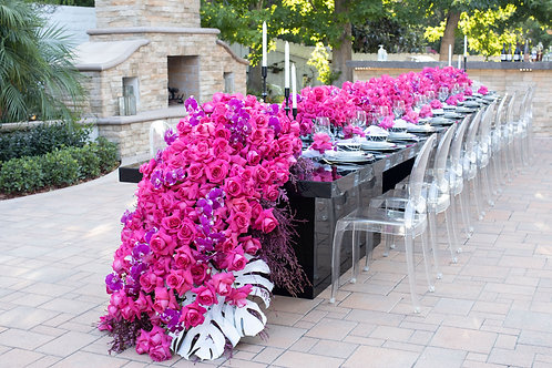 24' Setting Table With Cascade Flowers