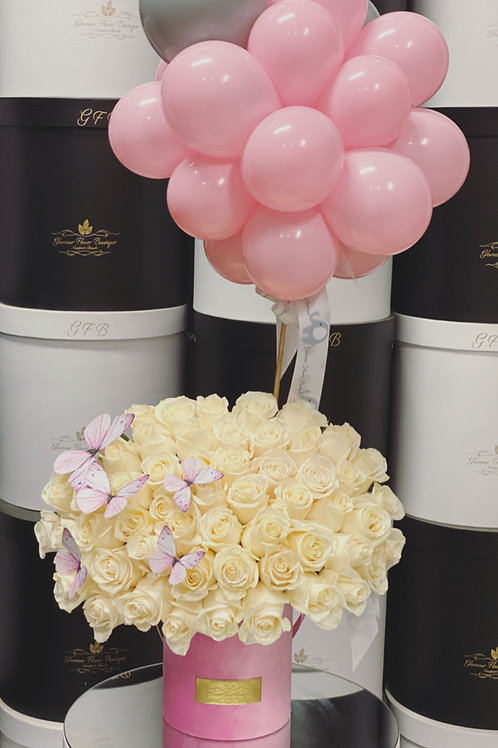 Medium Roses Box with Ballons