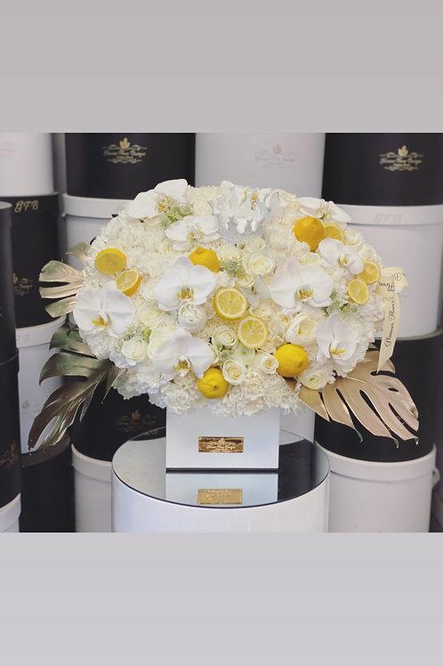 Extra Large Flower Arrangement in Square Shape Box with Lemon