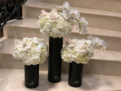 3 Set Black Vases with Flowers