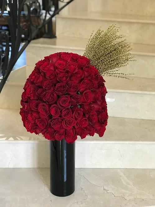 "Extra Large Roses Arrangement in the Black Vase ""150 Roses"""