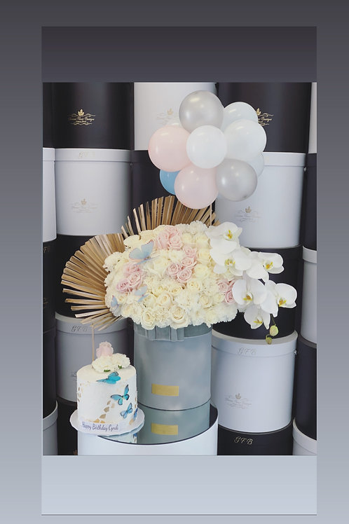 """Large Size Flower Bouquet with Matching Ballons and 6"""" Tall cake"""