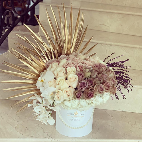 Large Size Colorful Peacock Style Arrangement  in White Cylinder Box