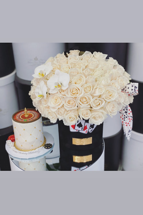 Gambling Style Cake and Flowers