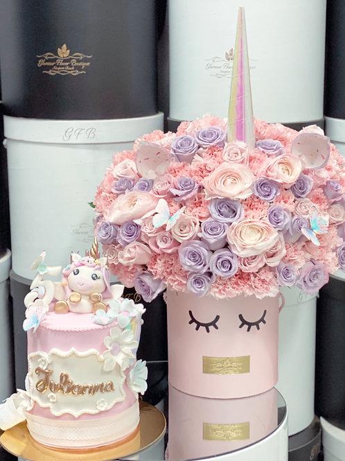Sets of unicorn Cake and Flowers