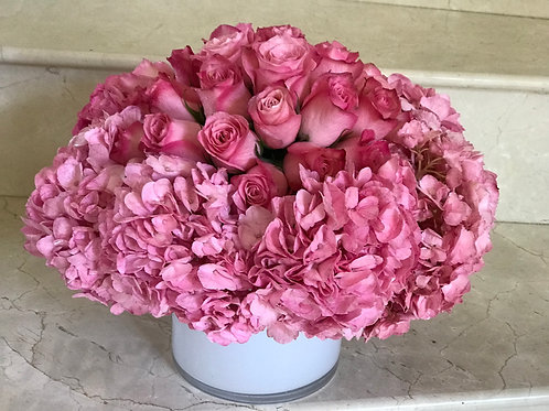 Medium Size Flower Arrangement in White Glass Vase