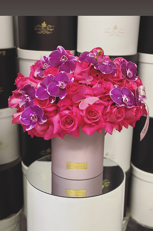 Large Size Flower Arrangement with Purple Box in Color Hot pink and Purple