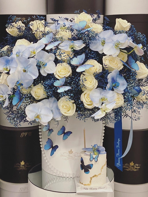 Set of Cake and Flowers in Blue colors
