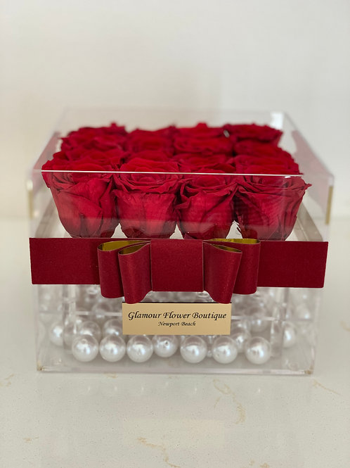 Medium Size Acrylic box with Preserved Roses