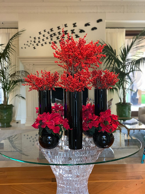 Set of Christmas Flowers with vases