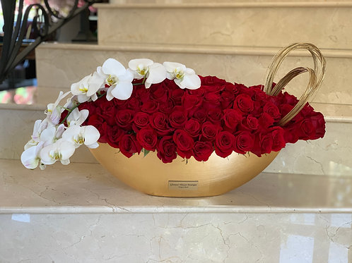 Large Size Bouquet With Red Roses and Orchids