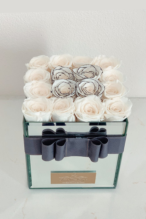 Medium Size Preserved Roses in Mirror Box