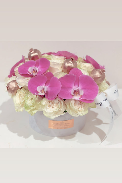 Medium Size Round Bouquet with 50 roses and Orchids