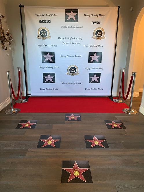 Customized Backdrop with Red Carpet and Hollywood Stars