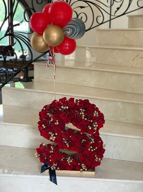 """Letter Arrangements with Ballons Size of arrangement 15"""""""