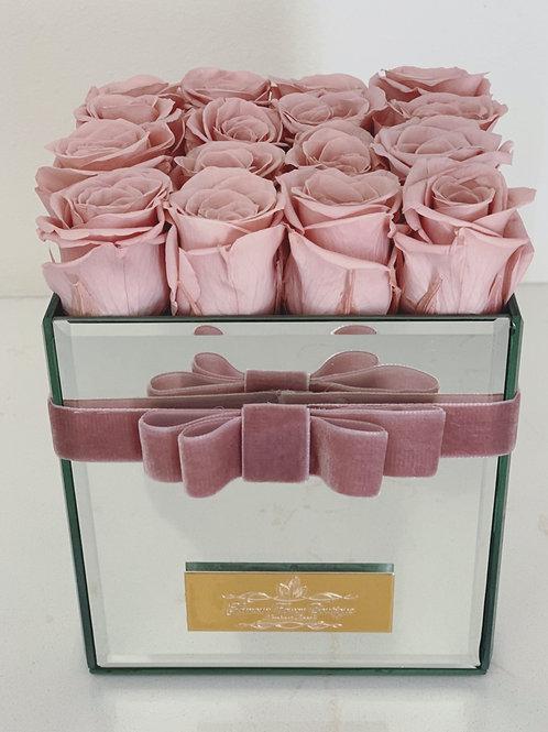 Medium Size Preserved Roses in Mirror Vase