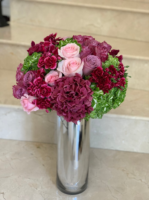 Colorful Arrangment in Large Size with Mirror Vase