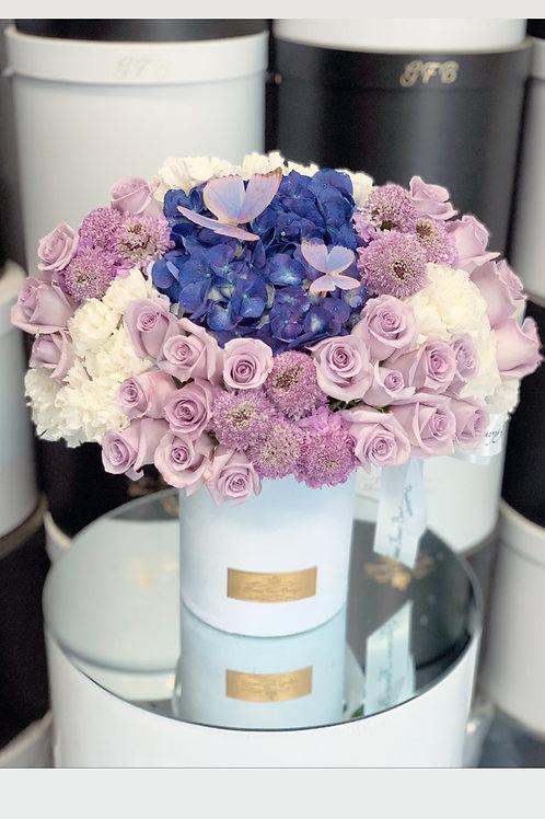 Medium Size Purple and White Arrangement