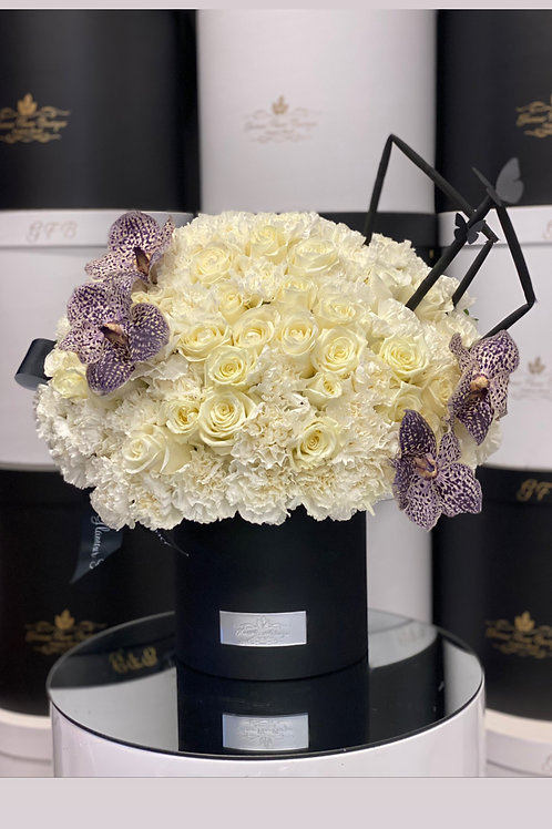 Modern Style Medium Size Arrangement in Color white and Purple