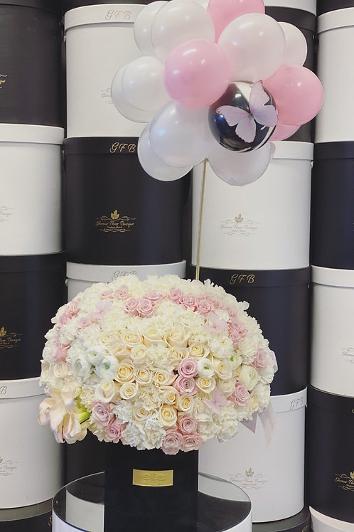 White and Light pink Medium to Large size Bouquet with Balloons