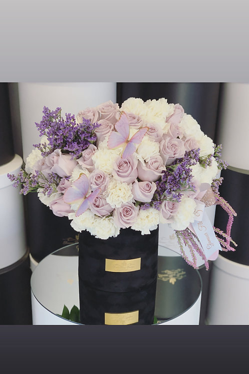 White and purple Medium Size Arrangement