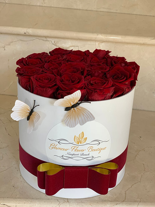 Medium Size Red Preserved Roses in White Box with Butterfly's decorations