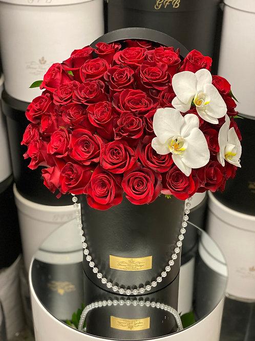 Medium Size Rose Bouquet with corner orchids