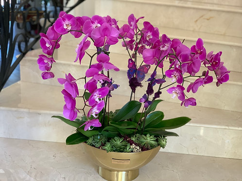 Large Size Orchids plants with Metal Gold Vase
