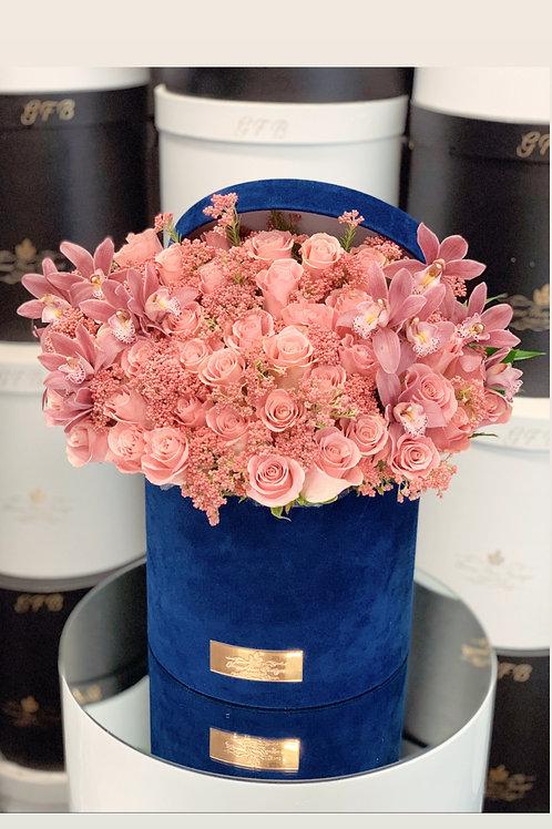 Large Flower Arrangement in Blue Velvet Box wit Matching Orchid color