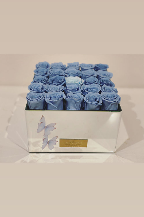 Large Size Preserved Roses In Mirror Box