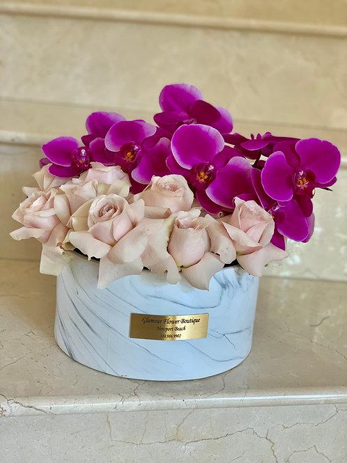 Beautiful Medium Ceramic Vase with Rose and Orchids