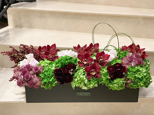 """Large Rectangle Shape Box with Colorful of flowers- 32"""" W, 10"""" W"""