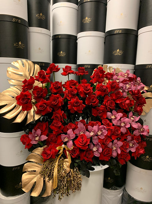 Extra Large Rose Bouquet with red Orchids