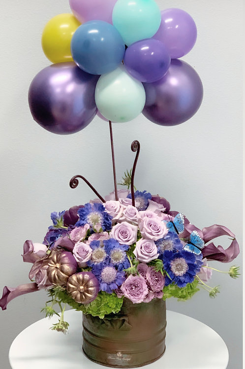 All Purple Flowers Arrangement with Ballons