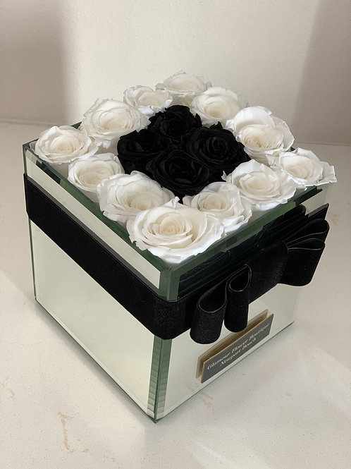 Medium Size preserved Roses in black and white colors