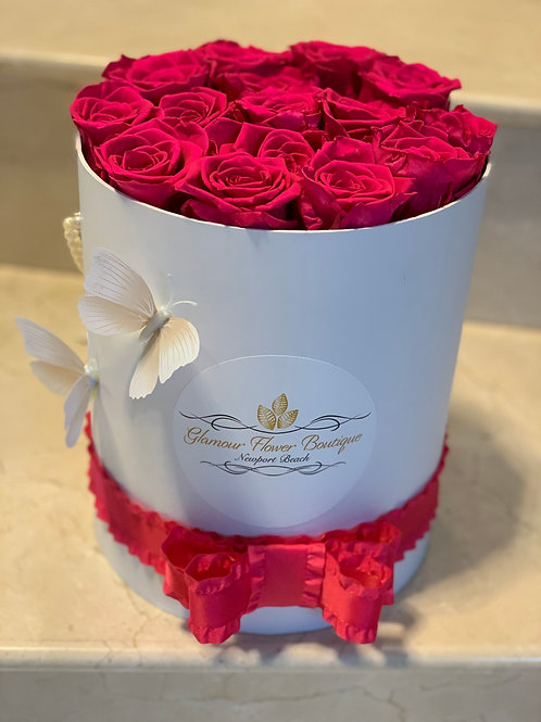 Hot Pink Preserved Roses With butterfly decorations